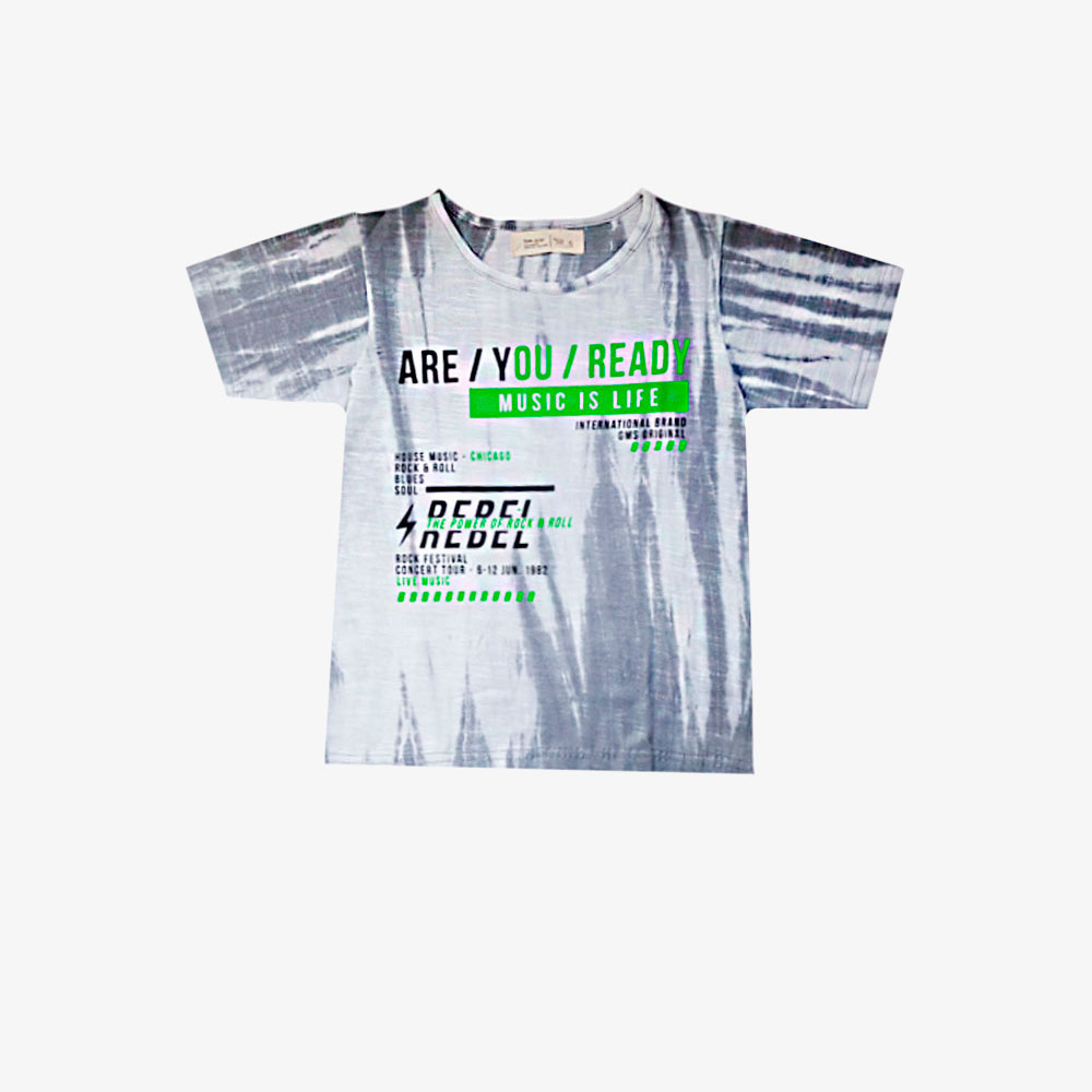 Remera Are you Ready -blanca y gris-