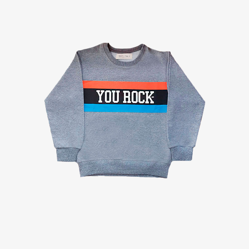 "Buzo rustico ""You rock"" -gris-"