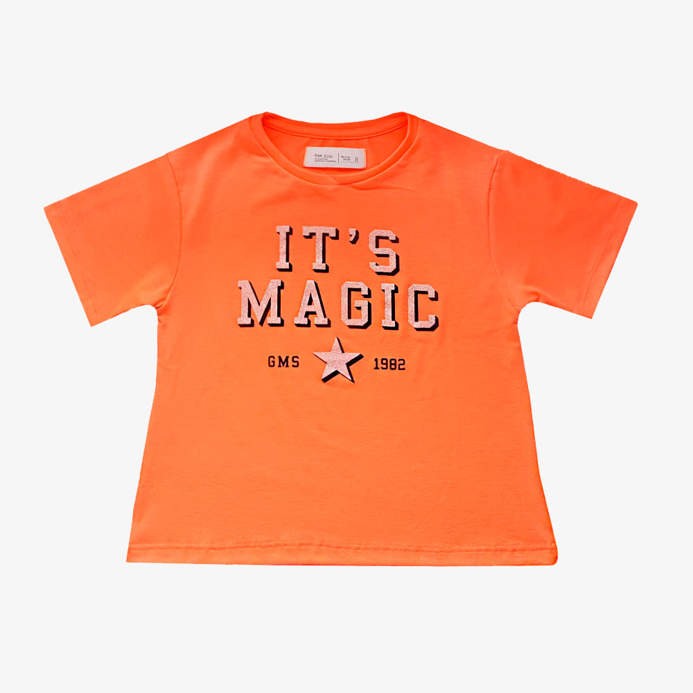 "Remera "" It's Magic"" - Naranja fluo -"