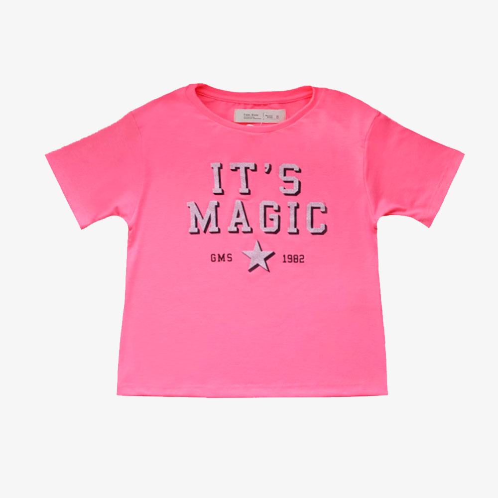 "Remera "" It's Magic"" - Rosa fluo -"