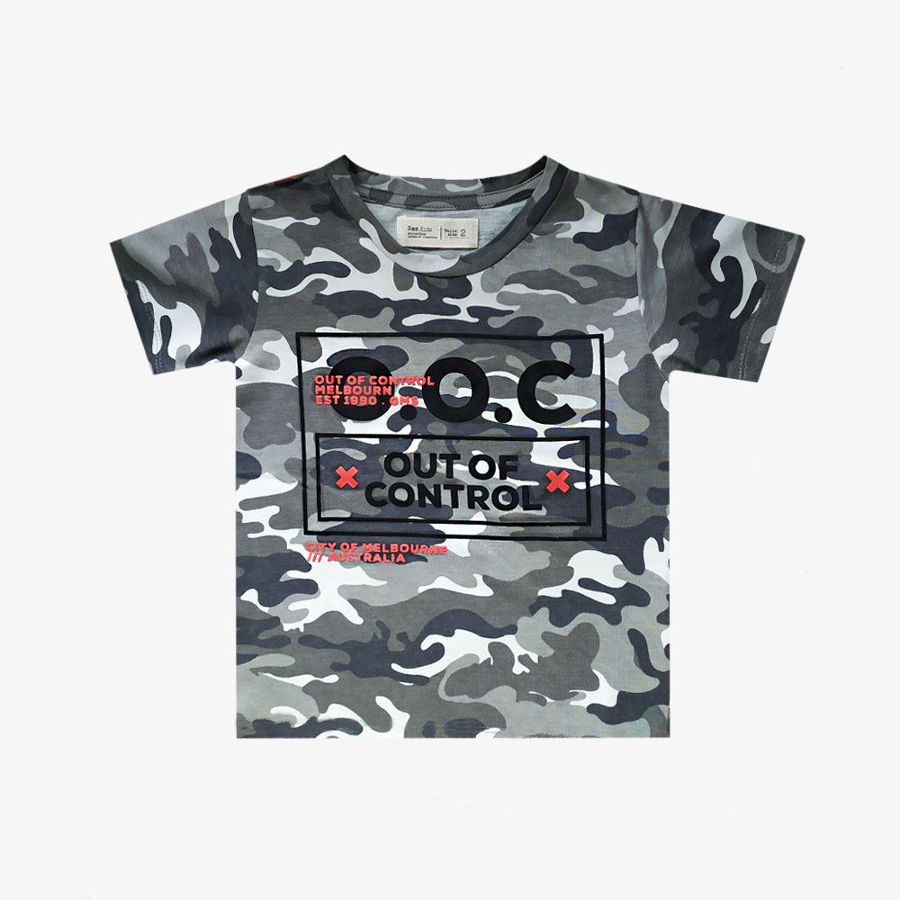 "Remera Camuflada ""Out Of Control"" - Verde militar -"