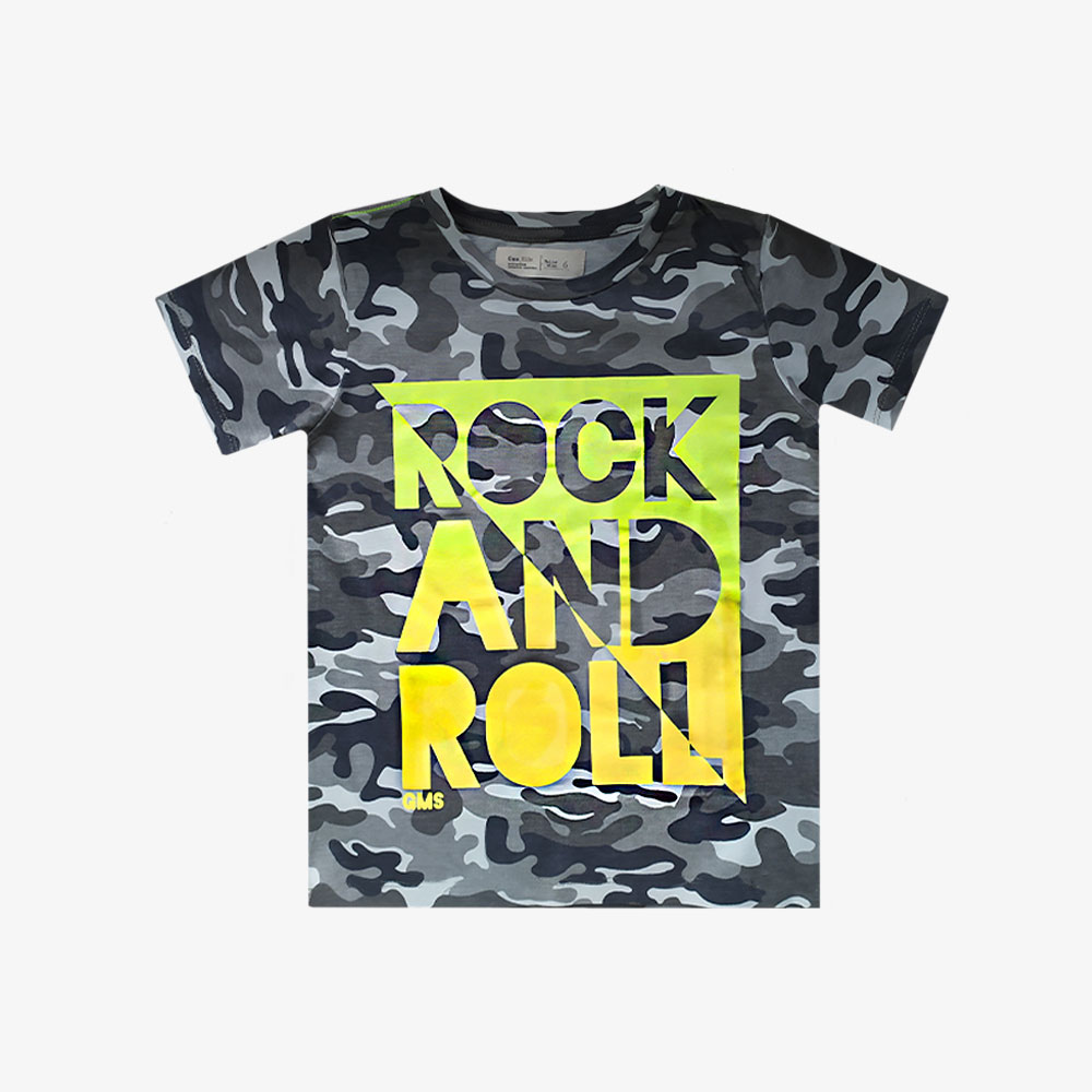 "Remera Camuflada ""Rock And Roll"" - Verde militar -"