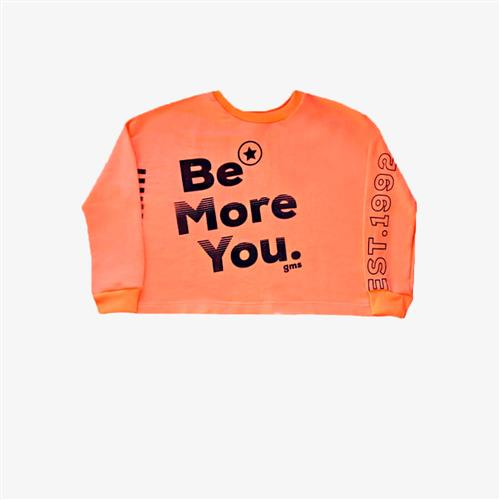 "Buzo rustico ""Be more you"" -naranja-"