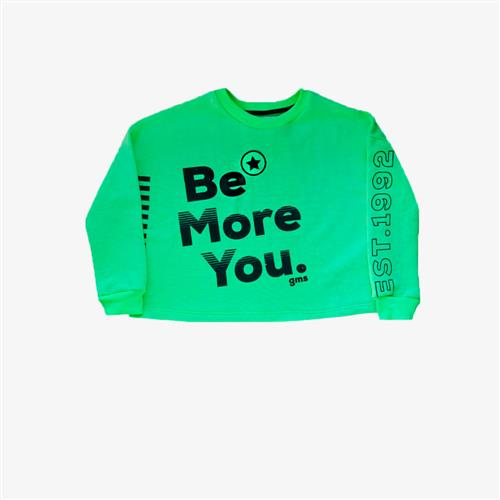 "Buzo rustico ""Be more you"" -verde-"