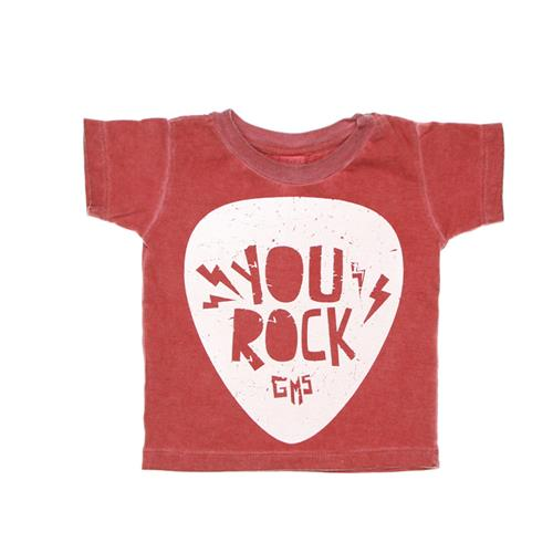 "Remera ""You Rock"" - Rojo teñido-"