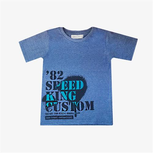 "Remera Clásica ""Speed King"" - Azul Melange -"