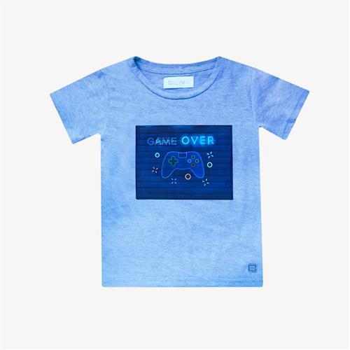 "Remera ""Game Over"" - Azul melange -"