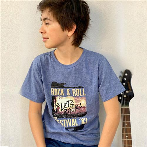 "Remera ""Rock and roll "" -Azul  -"