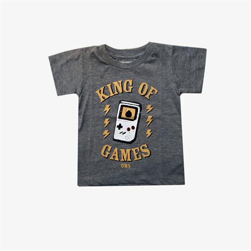 "Remera "" King Of Games"" - Gris y roja-"